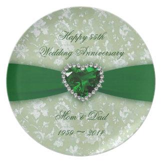 Damask 55th Wedding Anniversary Plates