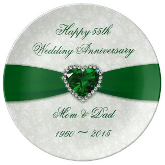 Damask 55th Wedding Anniversary Porcelain Plate