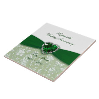 Damask 55th Wedding Anniversary Tile