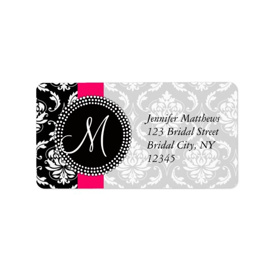 Damask Address Labels Pink for Weddings Initial