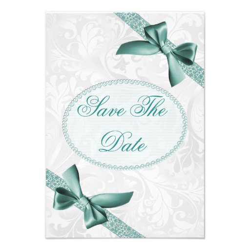 Damask and Bows 65th Birthday Save The Date Custom Invite