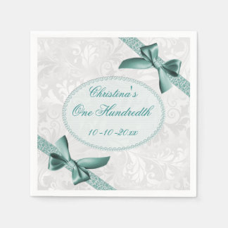 Damask and Bows One Hundredth Birthday Serviettes Disposable Napkins