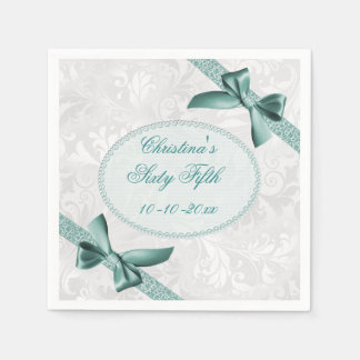 Damask and Bows Sixty Fifth Birthday Serviettes Disposable Napkin