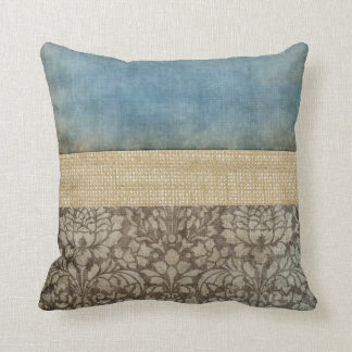 Damask and Burlap Pillow