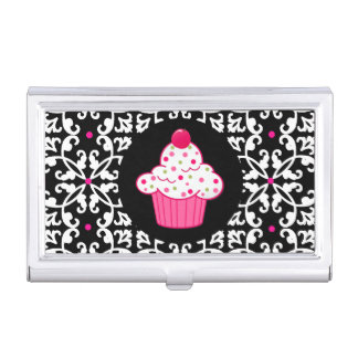 Damask and Cupcake Bakery Business Card Holder