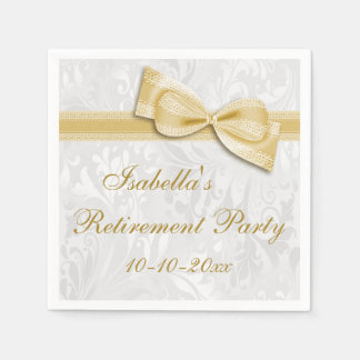 Damask and Gold Faux Bow Retirement Paper Napkin