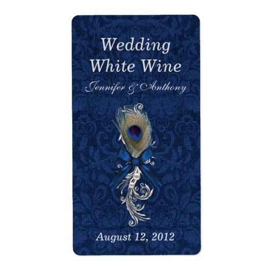 Damask and Peacock Feather Wedding Mini Wine
