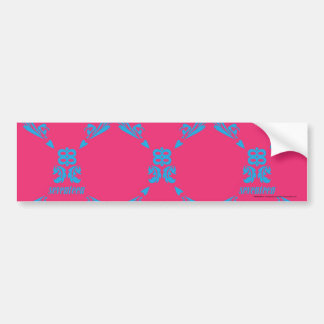 Damask Aqua-Magenta Bumper Sticker