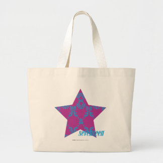 Damask Aqua-Purple 3 Large Tote Bag