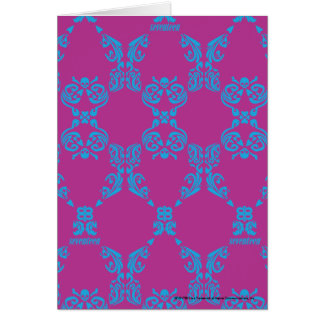 Damask Aqua-Purple Card