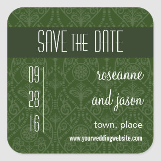 Damask Art Deco Save the Date Sticker