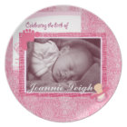 Damask Baby Girl Birth Photo Keepsake Plate