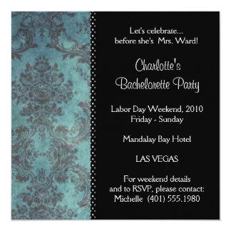 "damask bachelorette party 5.25"" square invitation card"