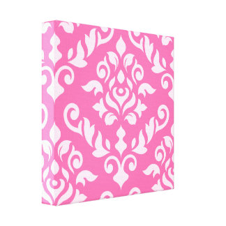 Damask Baroque Design Light on Dark Pink Stretched Canvas Print