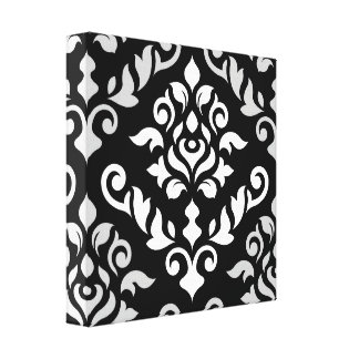 Damask Baroque Design Monochrome Canvas Print
