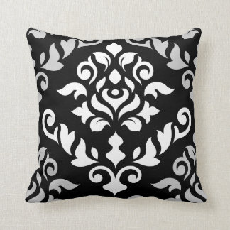 Damask Baroque Design Monochrome Throw Pillow