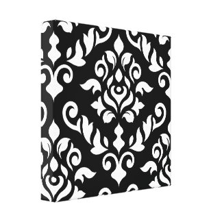 Damask Baroque Design White on Black Stretched Canvas Prints