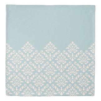 Damask Baroque Part Pattern Cream on Blue Duvet Cover