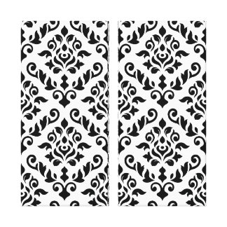 Damask Baroque Pattern Black on White Canvas Print