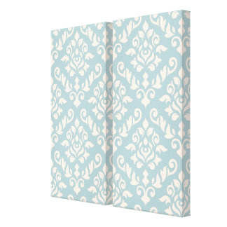 Damask Baroque Pattern Cream on Blue Stretched Canvas Prints