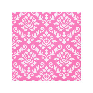 Damask Baroque Pattern Light on Dark Pink Canvas Prints