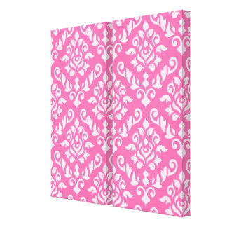 Damask Baroque Pattern Light on Dark Pink Gallery Wrapped Canvas