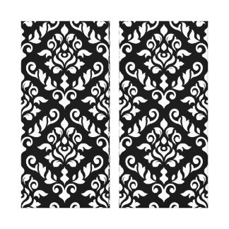 Damask Baroque Pattern White on Black Gallery Wrap Canvas