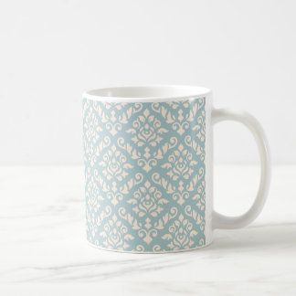 Damask Baroque Rpt Pattern Cream on Blue Coffee Mug
