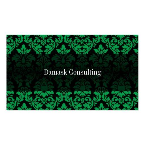 Damask Biz Card (Green) Business Card