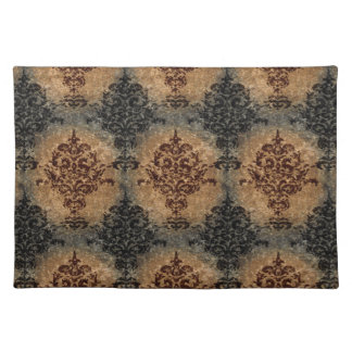 Damask Black and Rust on Gray Tan Place Mats