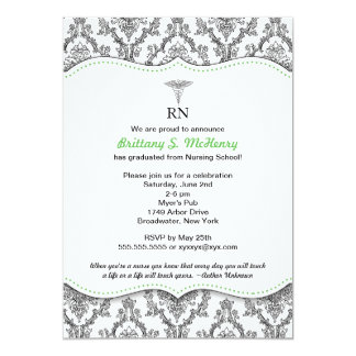 "Damask Black green Nurse graduation RN BSN LPN 5"" X 7"" Invitation Card"