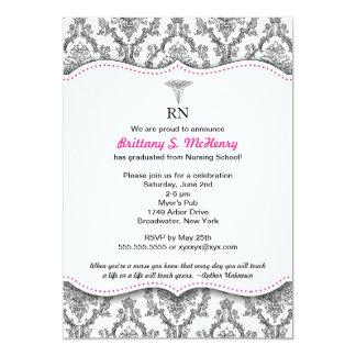 "Damask Black hot pink Nurse graduation RN BSN LPN 5"" X 7"" Invitation Card"