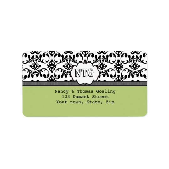 Damask black lime monogram Wedding Label