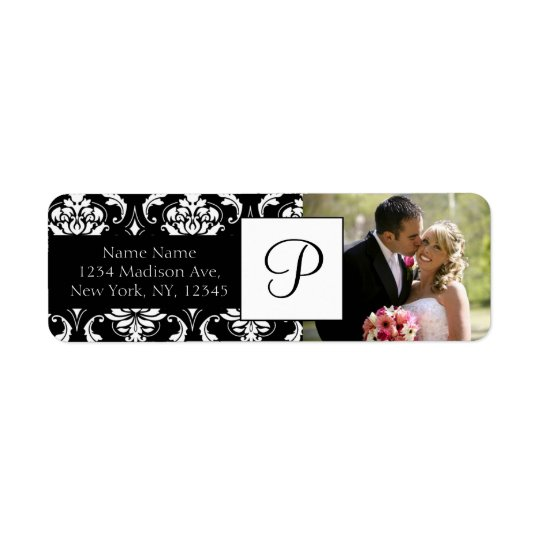Damask Black Monogram Photo Wedding Address Labels