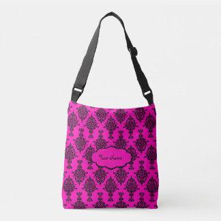 Damask Black on Pink Crossbody Bag