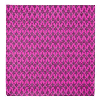 Damask Black on Pink Duvet Cover