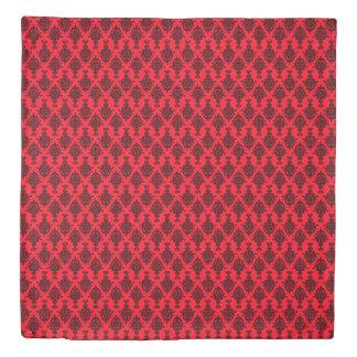 Damask Black on Red Duvet Cover