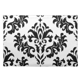 Damask Black on White! Placemat