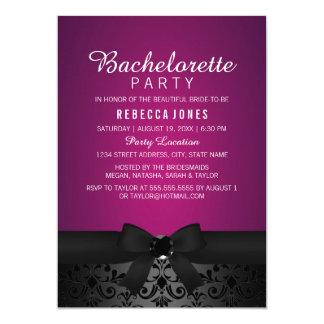 Damask Black & Pink Bow Bachelorette Party Invite
