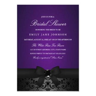 Damask Black & Purple Bow Bridal Shower Invite