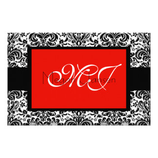 Damask Black & White Custom Stationery