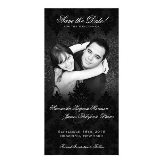 Damask Black & White Photo Save the Date Photo Greeting Card