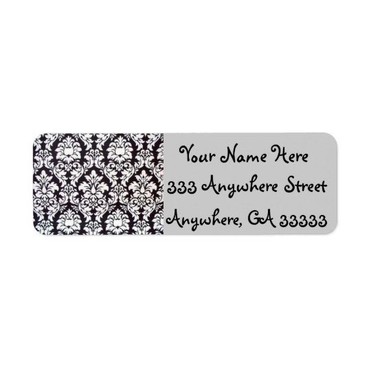 Damask black & white return address labels