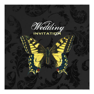 """damask black yellow butterfly wedding 5.25"""" square invitation card"""