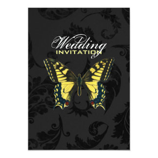 "damask black yellow butterfly wedding 5"" x 7"" invitation card"
