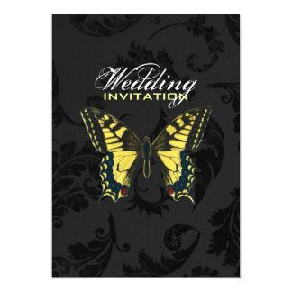 damask black yellow butterfly wedding card
