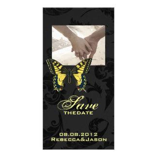 damask black yellow butterfly wedding customized photo card