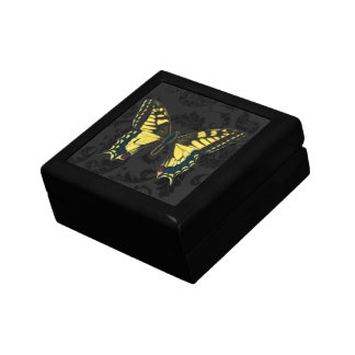 damask black yellow butterfly wedding gift box