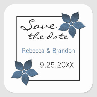 Damask Blooms Save the Date Stickers, Dark Blue