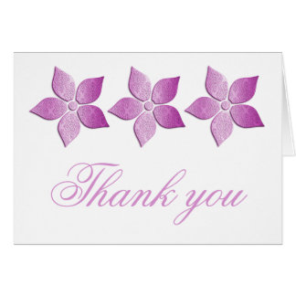 Damask Blooms Thank You Card, Purple Card